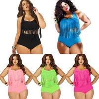 Wholesale High Waist Swimsuit Highwaisted Bikini Set Retro Swim Wear XL Women Tassel Fringe Swimwear Plus Size Female Bathing Suits