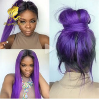 Wholesale Middle Part b purple high Quality heat resistant fiber straight Synthetic lace front wig for Black Women lace front synthetic wigs