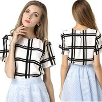 Smokeless plus size dropship - Factory Price Summer Women O Neck Chiffon Blouse Shirt Plus Size Fashion Black And White Plaid Short Sleeve blusas feminina Free Dropship