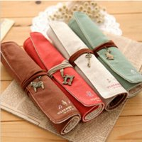 Wholesale Cute Kawaii Lovely Canvas Fabric Roller Pencil Case Solid Pen Bag with Pendant for Children School Supplies