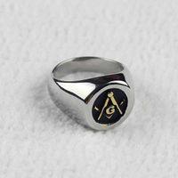 Wholesale Men s Gold Silver Freemasonry Free Mason Masonic L Stainless Steel Ring