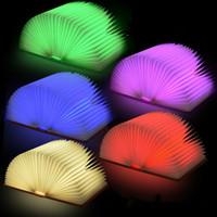 achat en gros de led emergency light-Lumières d'urgence Lumière créative de livre de couleur lampe de nuit de chargement Lampe pliante de livre d'USB Lampe de table de LED festivals cadeau 5 couleurs