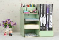 Wholesale office storage rack green file tray cubbyhole file pigeonhole file shelve made from MDF wood different colors available