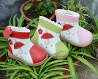 Wholesale New Handmade Toddler Little Girls Boots Colorful Umbrella Genuine Leather Short Wool Linning Soft TPR Sole Anti slip Cold proof