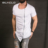 asymmetrical men - New Men s Fashion Show Stylish Long T shirt Asymmetrical Side Zipper Big Neck Short Sleeve T shirt Male Hip Hop Sport Tee