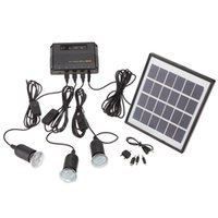 ac solar system - 4W Solar Powered Panel LED Light Lamp USB V Cell Mobile Phone Charger Home System Kit Garden Pathway Camping Fishing Outdoor