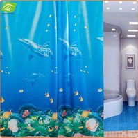 Wholesale Classical Dolphin Waterproof Shower Curtain For Bathroom Products Thicken Mildewproof PEVA Bath Curtain X180CM