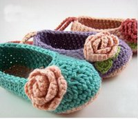 Wholesale Crochet baby flower ballet shoes handmade infant booties Baby Crib Shoes Princess Shoes toddler Baptism Shoes cotton pairs custom