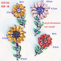 acryl stone - 6pcs beautiful sunflower stone trimmings yellow pink red acryl rhinestone beaded appliques for garment clothing accessory