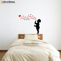 babies blowing bubbles - Kid Blowing Heart Bubble Creative Wall Stickers For Baby Bedroom Art Vinyl Murals Wallpaper For Nursery Kids Room Home Decor