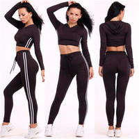 Night Out & Club Summer Crew Neck 2 Pcs Set Summer Sport Style Women Set Simple Long Sleeve Hoodie Top+Tight Pants Sport Style Athlete Cothes Women Girls Female Outfits A