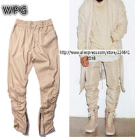Wholesale kanye west fear of god hip hop clothing men joggers jumpsuit chino yezzy Green khaki side zipper harem justin bieber pants