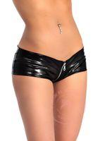 Wholesale 2016 New Women Sexy Latex Black Mini Shorts Low Waist Sexy Women Zipper Boxer Jeans Faux Leather Night Club Dance Wear