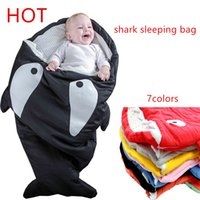 Wholesale newborn shark sleeping bag for winter use baby swaddle blanket wrap cute cartoon infantil sleep bag bedding