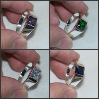 antique sapphire jewellery - Size Four colour Jewellery Antique Mens Silver Princess Cut Sapphire Wedding Ring HOT