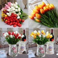 artificial tulips - Tulip Artificial Flower With Colors PU Artificial Flowers Colorful for Birthday Valentines And Wedding Party Home Decoration
