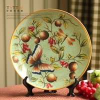 Wholesale Pastoral flower and bird classic series fruits and butterfly large sized ceramic decorative plate ceramic handicraft decoration