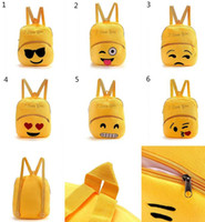 Wholesale 2016 New QQ Expression Emoji Smiley Kids School Bags Children Yellow Plush Backpack Kids Plush Toy I Love You Christmas Gift