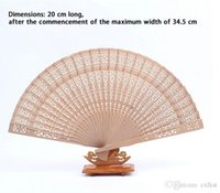 antique china brands - Folding Chinese Style Fan Fragrant Wood Hollow Flower Print Hand Fan GiftIF Brand New Good Quality