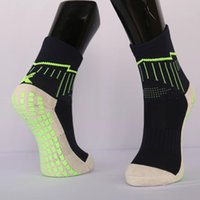 Wholesale 2 Color Sports Anti Slip Rubber block Soccer Socks Cotton Short Football Sock Men Women Calcetines Sports tube thick l socks