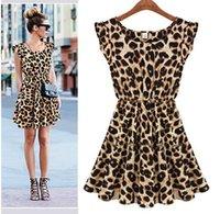 Wholesale Foreign trade dress S XXL Leopard round neck leopard dress sexy nightclub