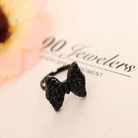 Wholesale Hot Sale Cute Lovely Black Bowknot Adjustabel Rings For Women Elegant Fashion Ring Girls Best Gift