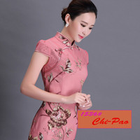 beauty cloth sleeves - women garments Chinese costume Qipao style skirt beauty mandarin collar casual dresses autumn cloth chi pao flora printed dresses