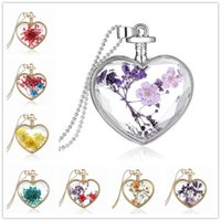 beautiful bottle designs - New Design Beautiful Accessories Purple Flower Women Dry Flower Heart Glass Wishing Bottle Pendant Necklace