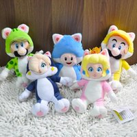 Wholesale 5pcs cm Super Mario D World Cat Mario amp Luigi amp Toat amp Peach amp Rosalina Plush Doll Toy Soft Stuffed Animals Toys Wit
