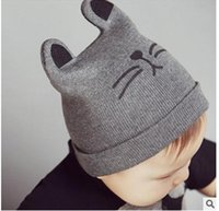 Wholesale children beanie for kids cutie baby hat cute kitty Knitting embroidery beanie can buy large amount good quality