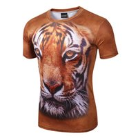 Wholesale Animal T Shirt D Printing Tiger Lion Eagle Men Short Sleeve Tshirt Slim Breathable Fashion Brands Lycra O Neck Tee Sport Bull