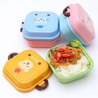 Wholesale 1Pcs Children s Double Lunch Boxes Cute Cartoon Animal Bento Lunch Box Set Double Layer Food Container For Kids Children Microwave