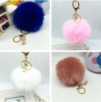 Wholesale Cute Genuine Leather Rabbit fur ball plush key chain for car key ring Bag Pendant car keychain