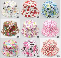 beanie babies pictures - Hot Sale Cute Cartoon printed picture kid girl cap lovely sun hat Colorful Baby Bucket hats canvas children beanie Colors