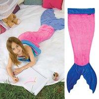 Cheap Mermaid Blanket Towel Envelopes For 3-12T Kids Soft Animal Sleeping Bag Pajamas Overalls Children Quilt Velvet Shark Blanket