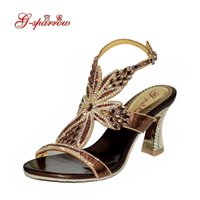 Cheap Brand Sandals 2016 Summer New High-Heeled Sandals Set Auger Luxury Flowers Ladies Shoes Sexy Wedding Shoes Plus Size 33-44