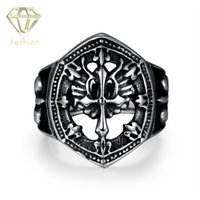 benchmark rings - Benchmark Rings Fashion Vintage Punk Locomotive Style Stainless Steel Hollow Cross Men Ring Cool Gifts Motorcycle Biker Jewelry