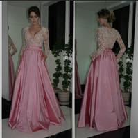 al por mayor zuhair rosa-Rosa 2017 de Zuhair Murad de manga larga vestidos de baile V escote tafetán de la cremallera de cuerpo entero vestidos de partida vestido de noche del partido de la línea A con los bolsillos