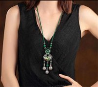 ancient adornments - Loulan inn green deserve to act the role of peace lock adornment necklace female national wind restoring ancient ways long sweater chain pen