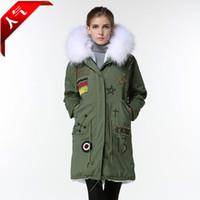 Wholesale Korean winter hooded long white fur collar MR MRS really FURS new cotton factory