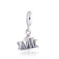 ale house - crown silver openwork Sydney Opera House charm ale sterling silver charms loose beads diy jewelry for thread bracelet DC252