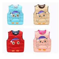 Wholesale 2016 Winter Girl Boy Cotton Vest Jacket Children s Cloth Animal Print Kids Clothes Keep Warm Candy Color Washable Cotton Waistcoat