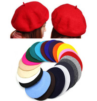 artist hat - New Fashion Solid Color Warm Wool Winter Women Girl Beret French Artist Beanie Hat Ski Cap For women