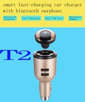 Wholesale T2 Car Bluetooth hands free phone audio wireless headset receiver car MP3 player FM transmitter car charger authentic factory direct