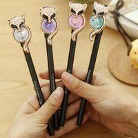 Wholesale 10pcs Cute Fox Shape Ballpoint Pen Gel Pens Marking Pens Office School Supplies Promotional Pens Material Escolar Papelaria