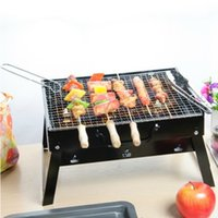 Wholesale Light Portable Barbecue Grill Black Stainless Steel Durable Grill Outdoor BBQ Party Assembled Grill BBQ Tools