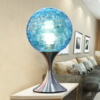 Wholesale 1 piece Stylish blue earth decorative glass table lamp Touch the adjustable light bed lamp Modern adornment desk lamp