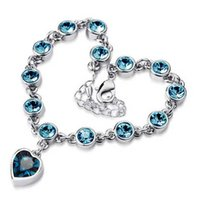 Wholesale And Retail Women Fashion Heart Crystal Bracelet With Round Crystal Fashion Jewelry
