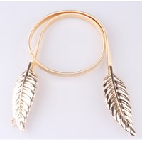 One Size belt fashion trends - Ladies elastic metal thin belt fashion trend decoration sweet Maple Leaf gold waist chain elastic belt