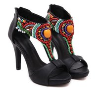beaded zip ties - The most stylish national wind beaded High heels waterproof fish mouth sandals women shoes summer shoes